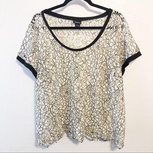Torrid black white sheer lace top blouse size 3x